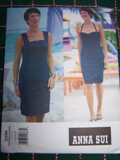 Vogue Designer Anna Sui Halter Dress Bombshell Sundress Sewing Pattern 2296