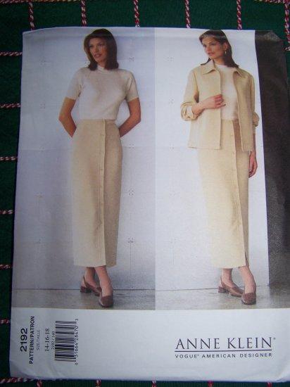 Misses Straight Skirt & Jacket Set Vogue Designer Anne Klein Sewing Pattern 2192 Sz 14 16 18