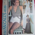 Vintage Hippie Junior Teen Halter Top Vest Shirt Palazzo Wide Leg Pants Shorts Sewing Pattern 4539