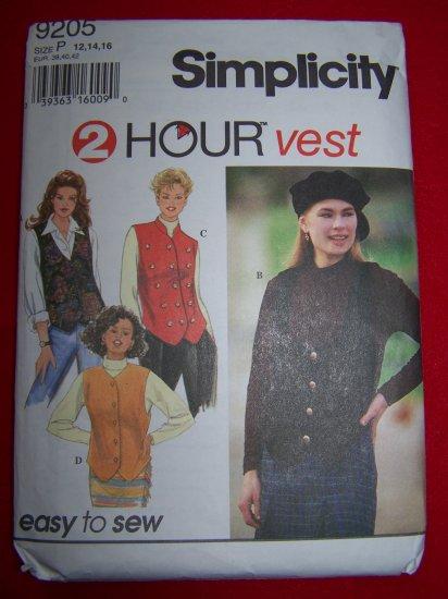 Misses 12 14 16 Set of  Vests V Scoop High Neck Mandarin Collar Sewing Pattern 9205