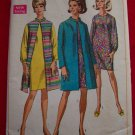 1960s Vintage Simplicity Sewing Pattern 7483 Sz 14 Coat or Sleeveless Jacket and Dress