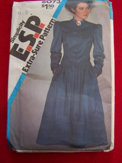 Vintage Sewing Pattern Simplicity 6073 Fitted Two Piece Dress Sz 8 10 12 Top and Skirt $1 US S&H