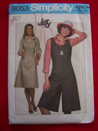 70s Vintage Dress Culotte Gauchos Jumper Sewing Pattern Simplicity 8053 USA $1 Shipping