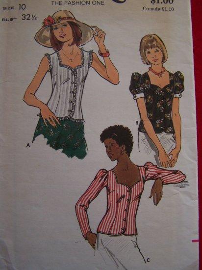 Vintage 1970s Sweetheart Summer Top Sleeveless Puffed Short Long Sleeves 3501 US 1 c Ship
