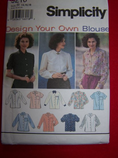 Simplicity Design Your Own Blouse 14 16 18 Sewing pattern 9210 USA 1 Dollar Ship