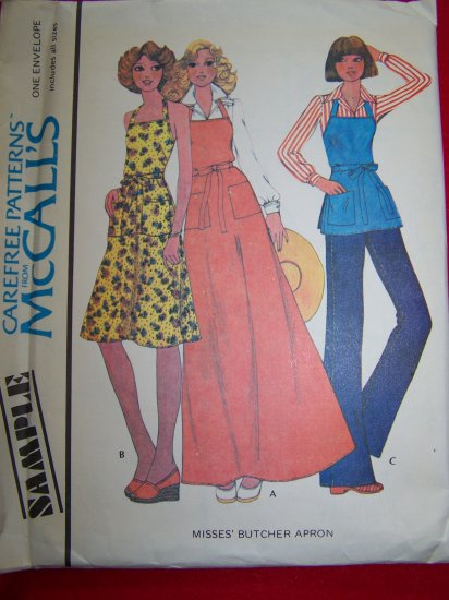 Vintage 1970s Back Wrap Halter Dress Butcher Apron Sewing Pattern McCalls USA 1 Dollar Shipping