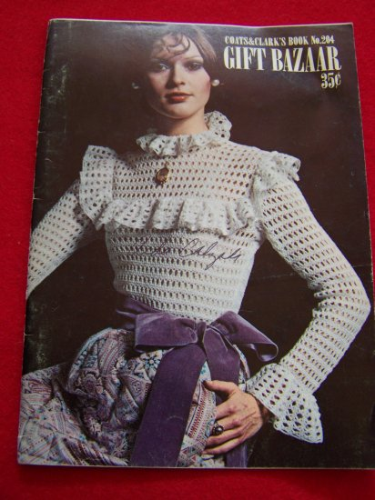 Vintage Crochet Patterns Book Victorian Blouse Baby Sweater Booties Hippie Belts Stuffed Animals