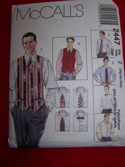 Mens XL XXL XXXL Lined Vests Shirt Ties Bow Tie McCalls Sewing Pattern 2447