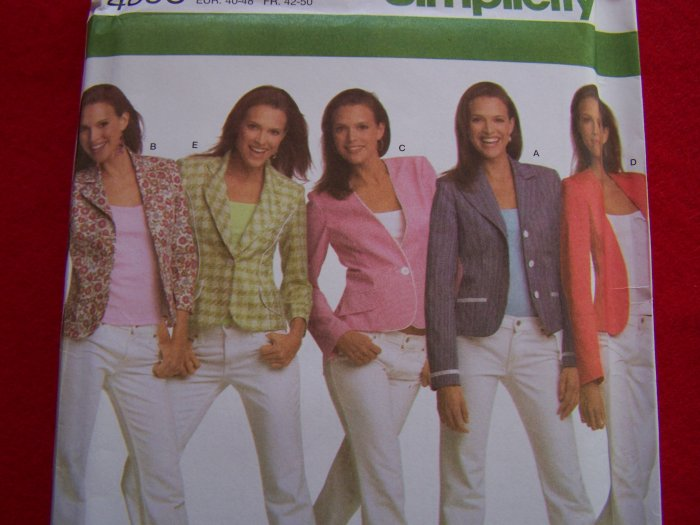 Simplicity Sewing Pattern 4698 Blazer Jacket with Front Variations 14 16 18 20 22