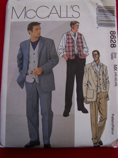 Mens Suit Sewing Pattern 8628 Unlined Jacket Lined Vest Pants 40 42 44