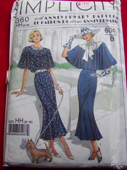 1920s Vintage Style Town Dress Capelet Gore Skirt Sewing Pattern 9360 + Designing Women Ads