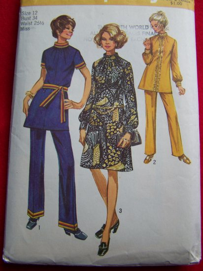 1970s Vintage Sewing Pattern Simplicity 9085 Dress Tunic Pants USA $1 S&H