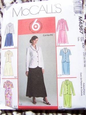 McCall's Sewing Pattern 4367 Princess Seam Tops 2 Length Skirts 12 14 16 18 USA $1 S&H