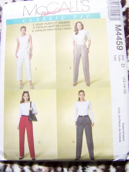 McCalls Sewing Pattern 4459 Misses 12 14 16 Pants Capri Slacks Trousers