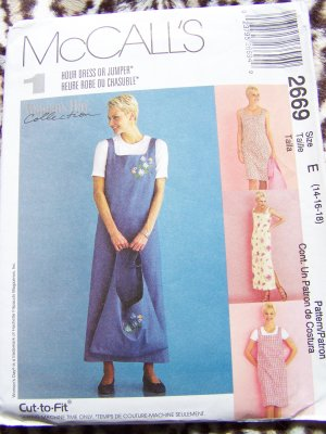 1 Hr Sundress Jumper Dress Tote Bag 14 16 18 McCalls Sewing Pattern 2669 US 1 C Shipping