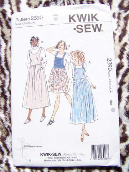Uncut 2 Length Jumper Dress Deep Armholes Tucks Optional Bib Style Sewing Pattern 2390