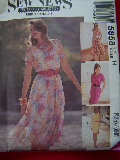 Sewing Pattern 5858 Set of Dresses Bias Blouson Bodice 4 Gored SKirt Sz 14 USA $1 S&H