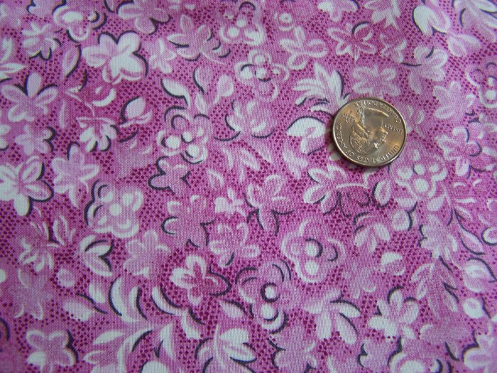 Vintage Northcott Silk Cotton Fabric Magenta Purple Floral Flowers Material Yardage
