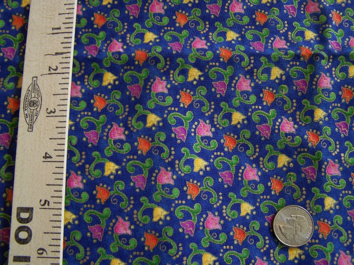 Robert Kaufman Cotton Fabric Jewel Tone Flowers Gold Outline EJ 1909