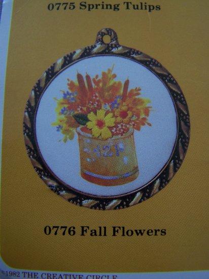Vintage Creative Circle Needlepoint Craft Kit 776 Fall Flowers Metal Frame