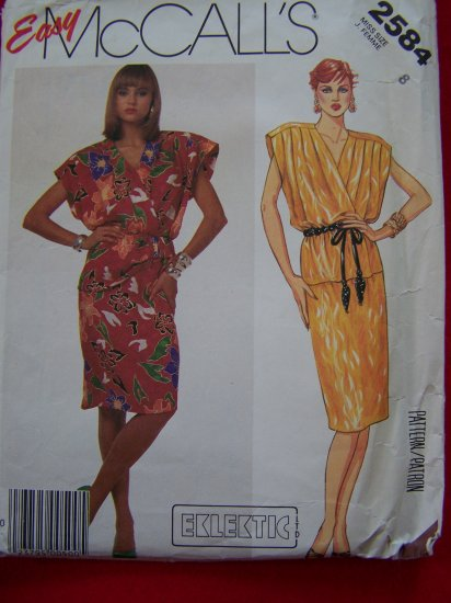 1980s Vintage Sewing Pattern Pullover Dress Surplice Top Peplum 2584 $1 S&H