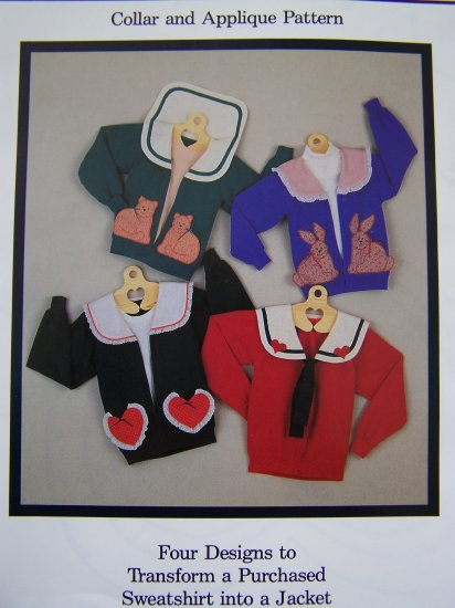 New Vintage Fabricraft Sweatshirt Jacket Easter Bunny Cat Heart Sailor Appliques