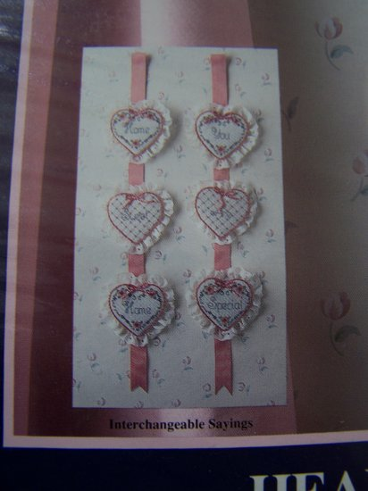 Loving Stitches Counted Cross Stitch Kit Hearts on Ribbon Wallhanging Decor # 00276