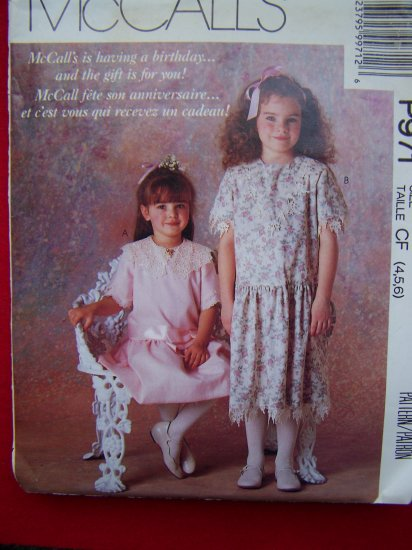 Girls Vintage Church Dress Sewing Pattern 4 5 6 Sew Patterns Sale $5 or Less Patterns