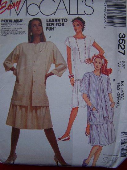 $5 Pattern Sale Vintage McCall's Sewing Pullover Dress Back V Neck Plus Size 22 24