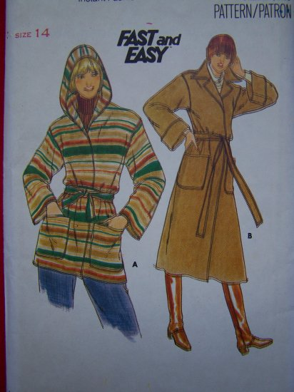 Vintage Wrap 2 Length Coat Sewing Pattern Convertible Collar or Hood Easy 5658
