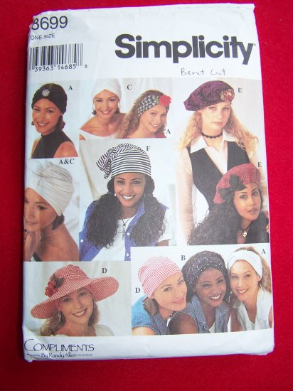 Simplicity Sewing Pattern 8699 Hats Beret Turban Floppy Hat One Size $5 Patterns Sale