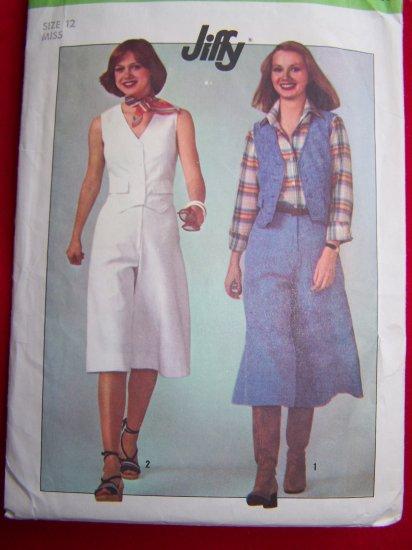 70s Misses Sz 12 Vintage Simplicity Sewing Pattern 8013 Pantskirt Gauchos Vest