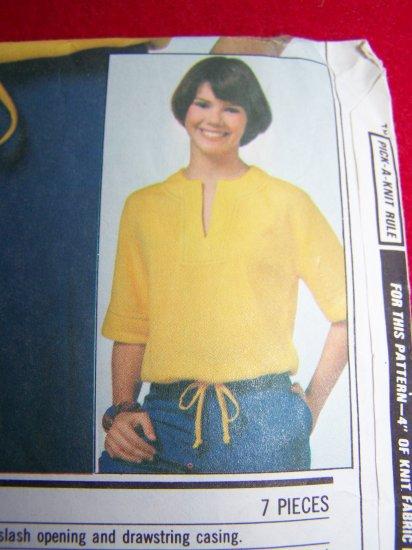 Vintage Sewing Pattern Pullover Top Slash Neck Sleeve Bands Drawstring Waist 8472