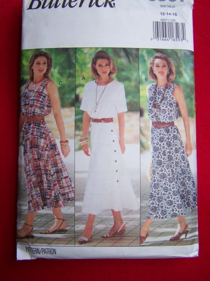 Butterick Sewing Pattern 6837 Sz 12 14 Flared Skirt Dress Patterns Sale $3