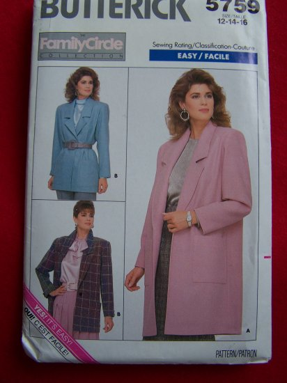Vintage Sew Pattern Butterick 5759 Unlined Blazer Suit Jacket 12 14 16 $5 or Less Sewing Patterns
