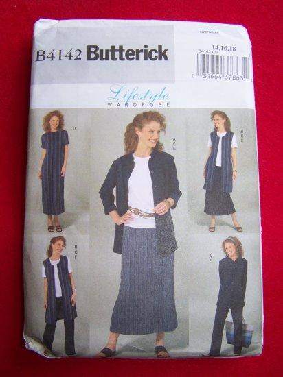 Misses Wardrobe Sewing pattern 4142 Jacket Vest Top Dress Skirt Pants 14 16 18