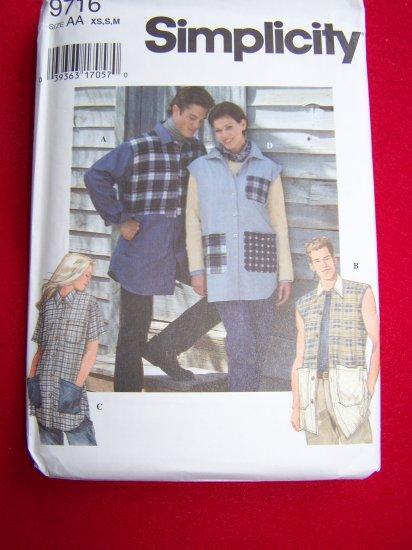 Misses Men's Teens Shirts Button up XS S M Uncut Sewing Pattern 9716