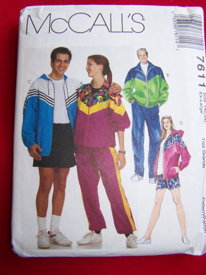 Men's Women's XL Windsuit Workout Suit Unlined Jacket Pull on Pants Shorts Sewing Pattern 7611