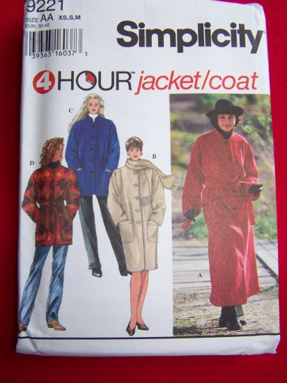 4 Hour Coat Jacket Hip Knee Long Maxi Length Wrap or Button XS S M Sewing Pattern 9221