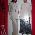 Misses XS S M Loose Pullover Top Skirt Pants Sewing Pattern 6829 Sew Patterns Sale