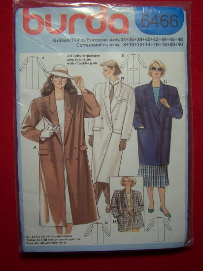 Burda Sewing Pattern 6466 Three Length Coat Jacket Patterns Sale