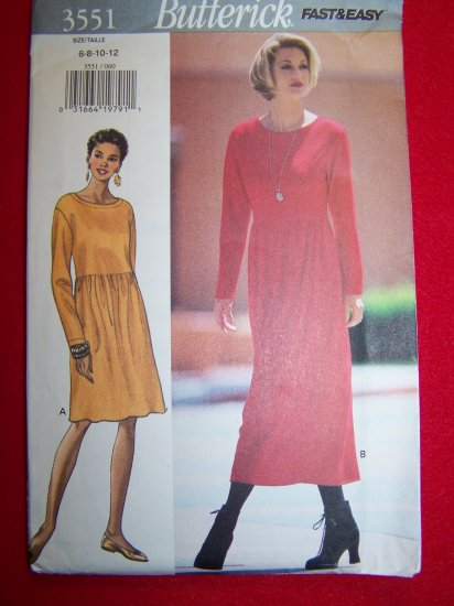 Sewing pattern B3551 Dress Mid or Ankle Length A Line Skirt Raised Waist 6 8 10 12