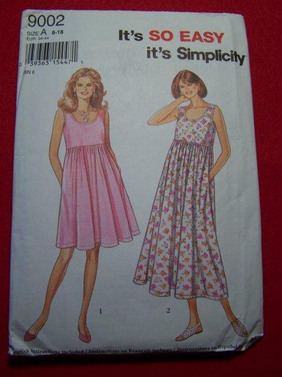 Easy Simplicity Sewing Pattern 9002 Sundress Dress Full Gathered Skirt 8 10 12 14 16 18