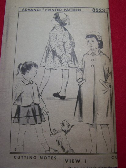 Girls Long or Shortie Tent Swing Coat Sz 4 Vintage Advance Sewing Pattern 8223