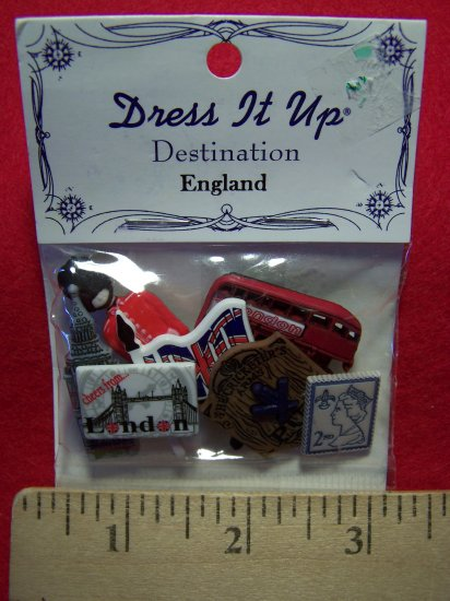 Dress IT Up Scrapbooking Buttons Sewing Destination England Set 1 Penny Shipping