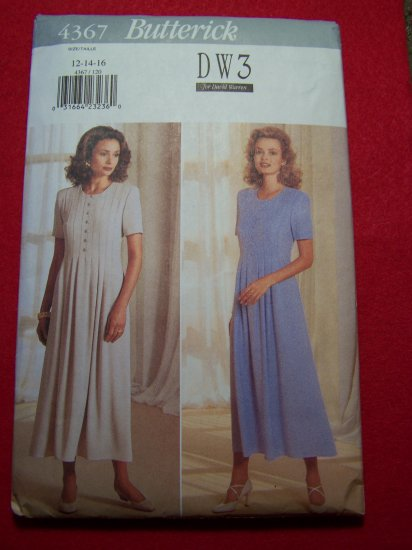Misses Semi Flared Dress Above Ankle Front Tucks Sz 12 Sewing Pattern 4367