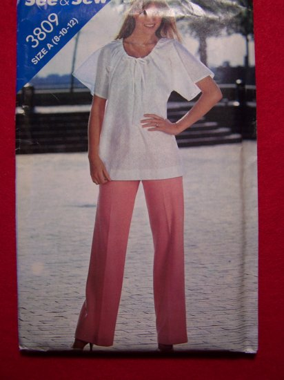 Vintage Peasant Tunic Top Flutter Sleeves Straight Leg Pants 8 10 12 Sewing Pattern 3809