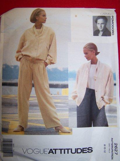 Vogue American Designer Pomodoro Slouchy Jacket Straight Leg Pants 8 10 12 Sewing Pattern 2627
