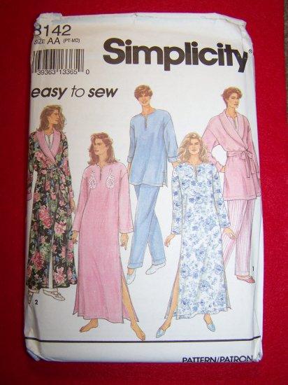 Easy Simplicity Sewing Pattern 8142 Misses 6 8 10 12 14 Caftan Robe Pajamas