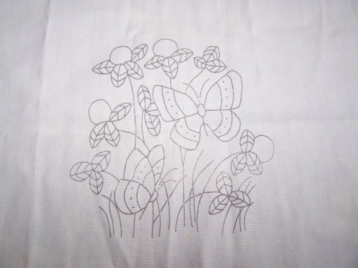 Vintage Embroidery Stamped Cotton Fabric Butterflies Flowers Needlepoint 1 Penny USA S&H